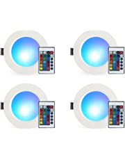 Recessed LED Lighting, Esbaybulbs RGB Recessed Light Color Changing w/Remote Control LED Ceiling Panel Light (5W/4 PACK)