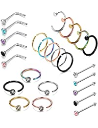 25PCS Stainless Steel Fake Septum Ring Nose Hoop Piercing Clicker Ring Retainer Set Body Jewelry Piercing