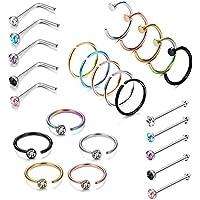 LOYALLOOK 25PCS Stainless Steel Fake Septum Ring Nose Hoop Piercing Clicker Ring Retainer Set Body Jewelry Piercing