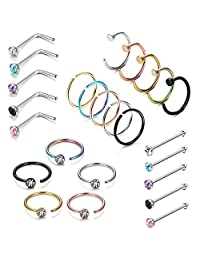 Subiceto 25PCS Stainless Steel Fake Septum Ring Nose Hoop Piercing Clicker Ring Retainer Set Body Jewelry Piercing