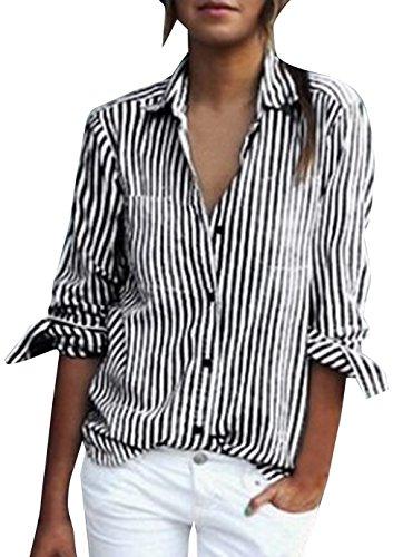 Tops Longues et Manches Femme Chemisiers Revers Noir2 Rayure Shirt Printemps Automne Casual Lache Blouse Shirts T wXqHq0B