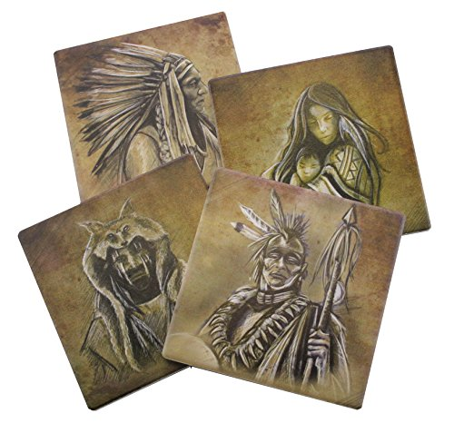 Native American Beverage Coaster Set of 4 | Old Western and Indian Themed Decorative Tabletop Pieces
