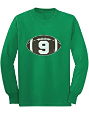 Gift for 9 Year Old Boy Football 9th Birthday Youth Kids Long Sleeve T-Shirt