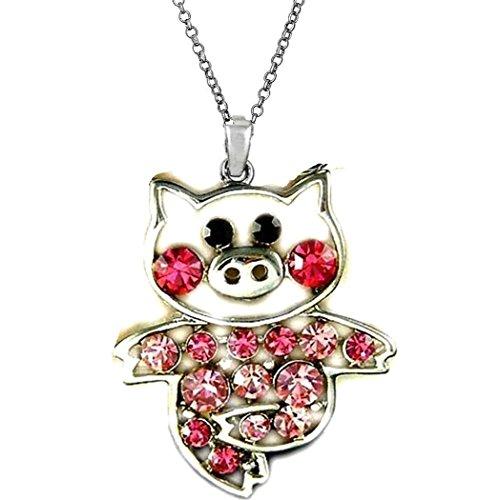 DianaL Boutique Adorable Little Pig Piggy Pendant Necklace Pink Rose Crystal 18