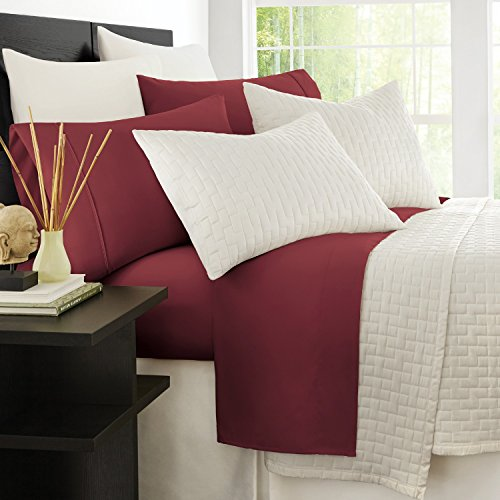 Zen Bamboo Hypoallergenic and Wrinkle Resistant Ultra Soft 4-Piece Bamboo California King Bed Sheets, Burgundy