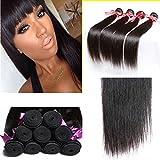 Perstar 8A Grade Brazilian Virgin Hair Straight Remy Hair 4 Bundles Remy Human Hair Weaves Natural Black (22 24 26 28, Natural Color) …