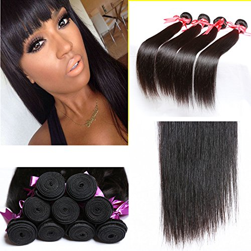 Perstar 8A Grade Brazilian Virgin Hair Straight Remy Hair 4 Bundles Remy Human Hair Weaves Natural Black (22 24 26 28, Natural Color) …