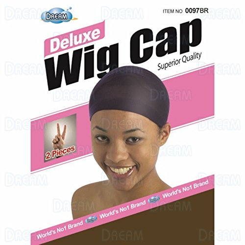 DREAM Deluxe Wig Cap Brown 24 pc (Model: 097 BROWN), Spandex cap, Wig cap, Mesh cap, Snood, Hair net, Fish net by Dream (Image #1)