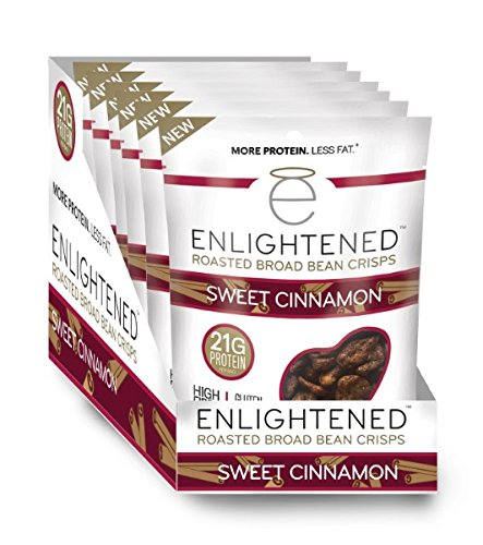 Enlightened Plant Protein Gluten Free Roasted Broad (Fava) Bean Snack, Sweet Cinnamon, 6 Count