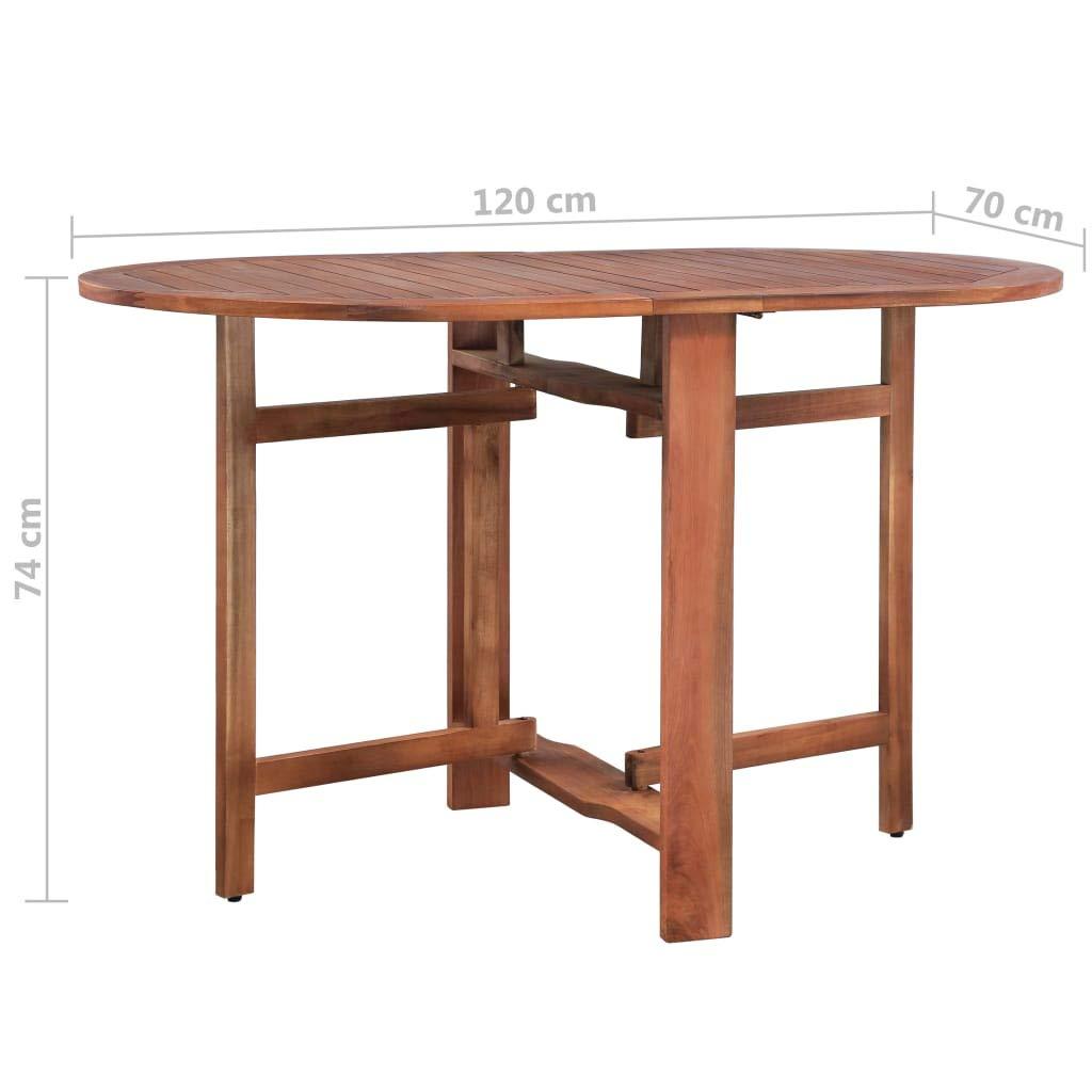 L x l x H Table de Jardin Pliable Ovale Table de Salle /à Manger Table dExt/érieur en Bois Marron Style Naturel 120 x 70 x 74 cm Festnight