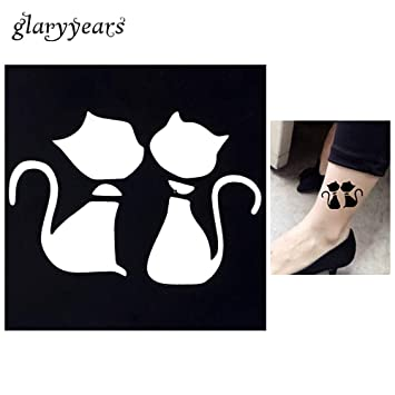 Amazon Com 1pc Cartoon Cat Waterproof Tattoo Stencil Woman Body