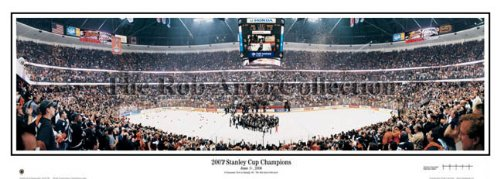 (Anaheim Ducks 2007 Stanley Cup Champions Stadium Panoramic Print - Standard Cherry Frame)