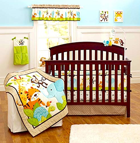 (BabyCrib Unique Cute Adorable Elephant, Tiger, Monkey, Green and Blue, 10 Piece Bedding Set, Including Crib Bumper, Diaper Stacker, and Bonus Baby Monthly Milestone Blanket for Newborn Baby)