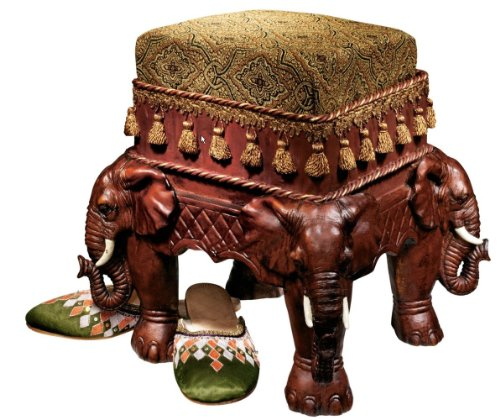 Persian Sultan Elephants Jacquard Sculptural Luxury Upholstered Footstool (Xoticbrands)