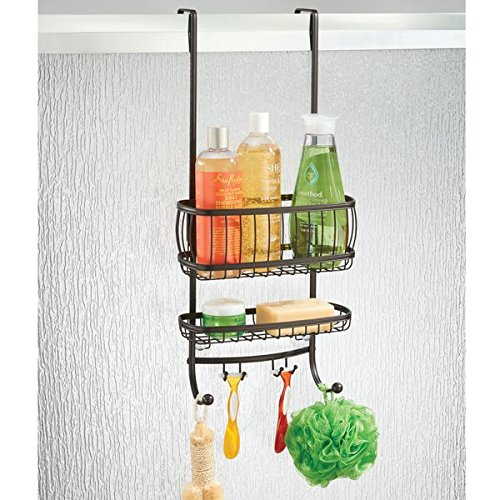 mDesign Over the Door Shower Caddy for Shampoo, Conditioner, Soap - Bronze