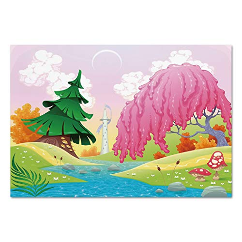 Riverside Spring - Large Wall Mural Sticker [ Cartoon,Fantasy Landscape with Unusual Trees Riverside Drawing Spring Summer Season Print Decorative,Multicolor ] Self-Adhesive Vinyl Wallpaper/Removable Modern Decorating
