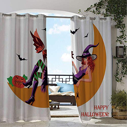 Linhomedecor Gazebo Waterproof Curtains Witch Sexy Witchy Woman on The Moon Flying Bats Spider and Pumpkin Happy Halloween Fantasy Multicolor Porch Grommet Patterned Curtain 72 by 84 inch -