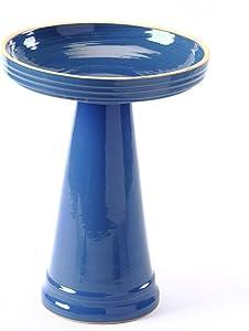 Birds Choice BCSE-Blue Burley Clay Simple Elegance Bellflower Bird Bath, Medium