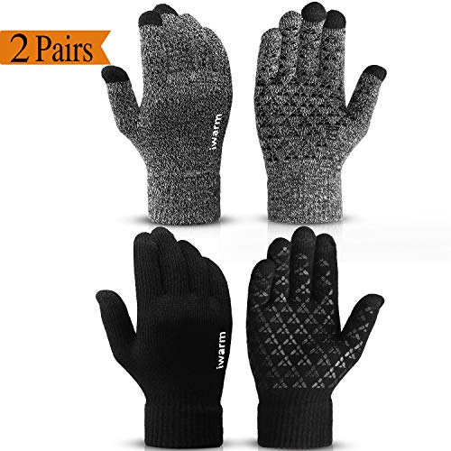 (CooYoo Winter Gloves for Women and Men Touchscreen Gloves,Knit Wool, Anti-Slip Silicone Gel - Elastic Cuff - Thermal Soft Wool Lining - Stretchy Material)