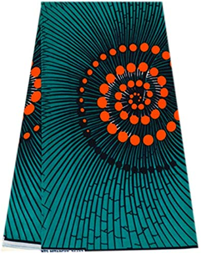 African Print Fabric African Ankara Wax Print 6 Yards 100% Cotton Swirl Print African Printed Dresses for Women & Men - Teal Green & Orange