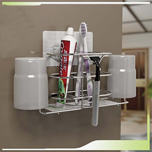 K-Steel Stainless Steel Suction Cup Toothpaste Toothbrush Holder Wall Mounted Bathroom Organizer Storage Rack