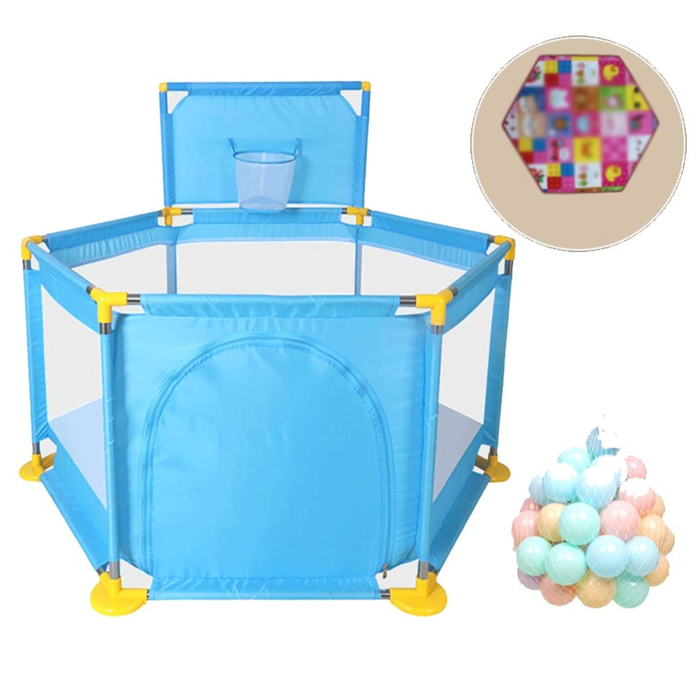 bluee With mat+balls Baby Playpen Portable Kids Safety Play Center Yard Home Indoor Fence Anti-Fall Play Pen (color   Pink, Size   with mat)