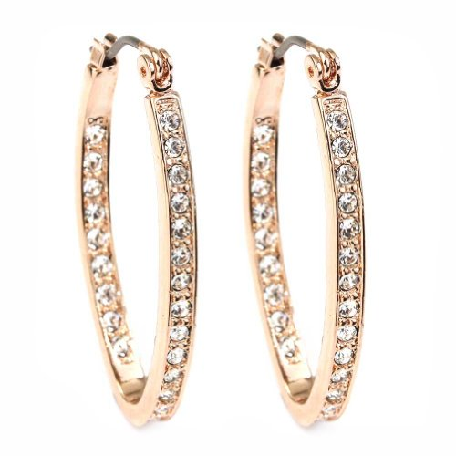 (FC JORY Rose Gold Plated Crystal Paved Oval Click-Top Hoop Pierced Dangle Earrings)
