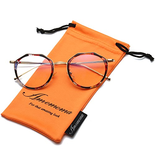 Amomoma Vintage Optical Eyewear Non-prescription Eyeglasses Frame with Clear Lenses AM5016 With Tortoise Frame/Gold - No Cheap Glasses Prescription