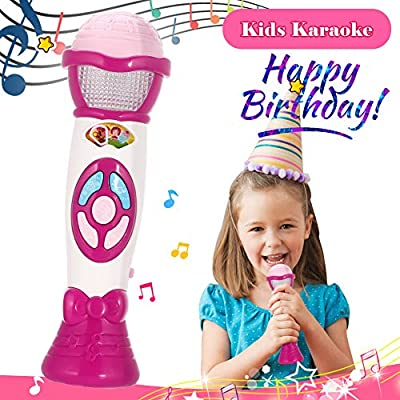 FunsLane Kids Voice Changer Microphone Toy Karaoke Machine for Toddler with Recording, Play Music Function, Colorful Lights, Party Favor Toy Great Birthday for Girls Boys, Pink: Toys & Games