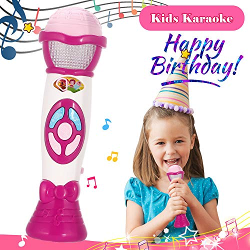 FunsLane Kids Voice Changer Microphone Toy Karaoke Machine For Toddler With Recording, Play Music Function, Colorful Lights, Party Favor Toy Great Birthday Holiday Gift for Girls Boys, Pink by FunsLane (Image #6)