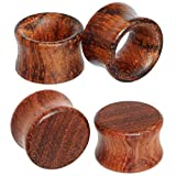 3 4 wooden plugs - 9/16 14mm Organic Guibouritia Wood Flesh Tunnels Double Flared Hollow Saddle Plug Ear Gauge Stretcher