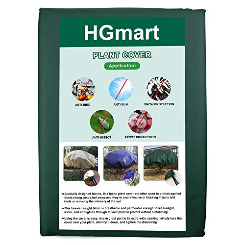 HGmart Round Frost Protection Plant Cover Fabric Frost Blanket Outdoor Shrub Jacket for Winter Frost Cold,0.95oz Dia14′,Dark Green
