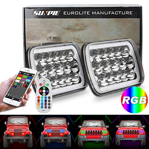 5x7 Headlights H6054 LED Headlights YJ Headlights Cherokee Headlights Replace Stock Headlights with RGB Halo Function for Chevrolet (Rgb Color Headlight)