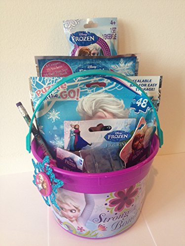 Disney Frozen Princess Elsa & Anna Bucket of Fun Set Perfect for Easter Basket, Birthday Gift, or any other Special Occassion (Frozen Gift Basket)