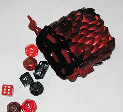 Leather Bag Dice (Dice Bag in Knitted Scale Armor - Dark Fire)