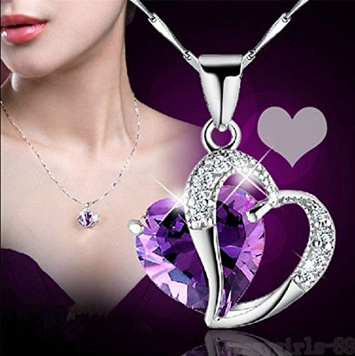 MoonHome Angel Wings Heart Crystal Rhinestone Silver Chain Pendant Necklace - Romantic Jewelry Gifts for Valentine\'s Day