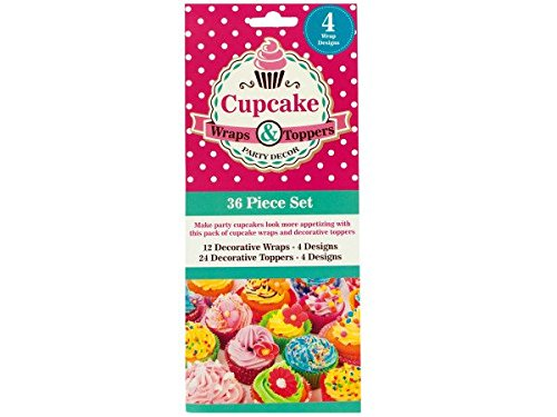 Bulk Buys HM068-48 Decorative Cupcake Wraps and Toppers Set by bulk buys
