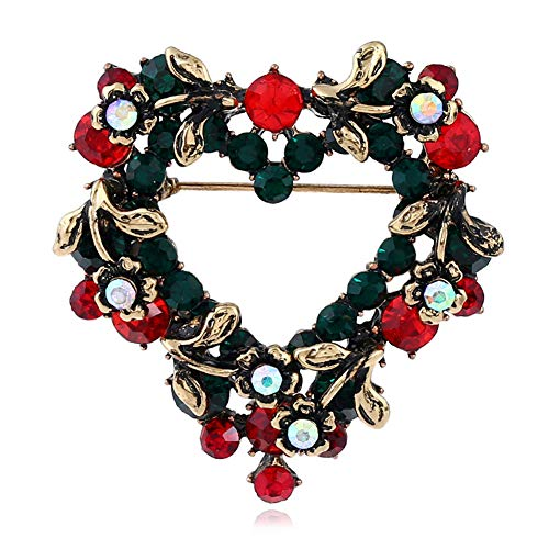 ZN LOVE Golden Christmas Heart Brooch Pin with Red Green Rhinestones