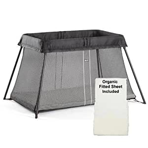 Baby Bjorn - Travel Crib Light With Organic Fitted Sheet Kit - Black Mesh