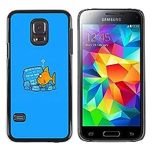 Samsung Galaxy S5 Mini (Not S5), SM-G800 - Metal de aluminio y de plástico duro Caja del teléfono - Negro - Please Stand By