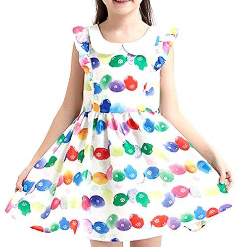 NQ Little Girl's Lapel Princess Colorful Polka Dot A-line Dress pink 7-8