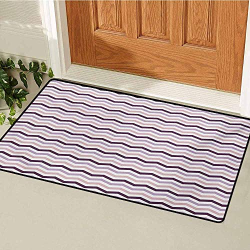 - GUUVOR Eggplant Commercial Grade Entrance mat Sea Ocean Wave Inspired Zig Zag Image in Purple Tones Art Print for entrances garages patios W19.7 x L31.5 Inch Pale Pink Purple and Lilac