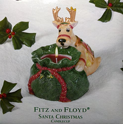 Fitz And Floyd Christmas Deer Santa Candle Cup Holder 200...