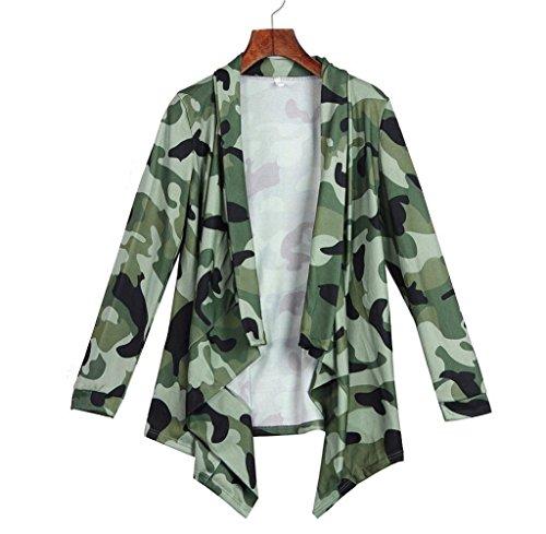 Tongshi Abrigo Las mujeres de manga larga irregular Cardigans Outwear capa ocasional Tops Verde