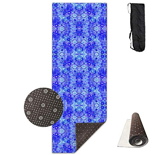 hipring6sk 70-Inch Long 28-Inch Wide Comfort Velvet Yoga Mat, Cobalt Counterpoint Wallpaper (3928) Mat Carrying Strap & Bag