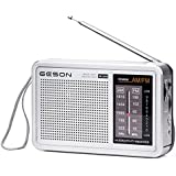 Portable AM/FM 2-Band Radio Receiver, Geson Desk Radio AM/FM Telescopic Antenna Radio Operated by Battery