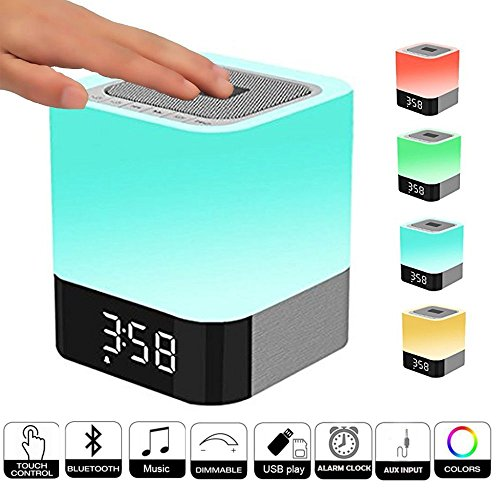 Band Microsd - Alarm Clock, ICODE Sports Multi-function Bluetooth Speaker 4.0 with Touch Sensor Bedside Lamp ,MP3 Player, Sleep Timer, Hands-free Calls Function- Support TF / Micro SD card