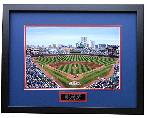 Wrigley Field Celebrate 100 Years. 8X10 Photo Matted in Their Team Colors. Professionally Framed to a 11x14