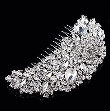 Sunshiny Delicate Charming Women s Bridal Wedding Crystal Rhinestones Decor  Flower Style Hair Comb Clip Hair Pin d42981250af6