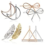 Fascigirl Hair Clip for Women 8 Pcs Hair Barrettes Hair Pins Moon Triangle Circle Butterfly Hair Clips for Girls Thick Hair Styling (Gold and Silver) (A gold and silver)